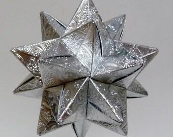 Medium Embossed Silver Christmas Star, Christmas Ornament, Silver Filigree Star Ornament, Origami Star, Origami Ornament, Silver Star