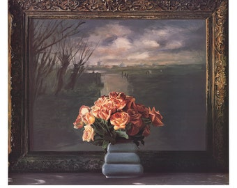 Ben Schonzeit-Roses with Dutch Landscape-1990 Serigraph