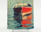 Shower Curtain   Wooden Boat Photo   Red Row Boat   Lake House Decor   Nautical Shower Curtain   Custom Bath Decor   New Home Gift