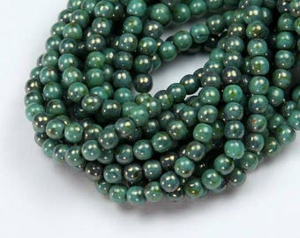 Turquoise Bronze Picasso Czech Glass Beads, 4mm Round - 100 pcs - eBT6313-04