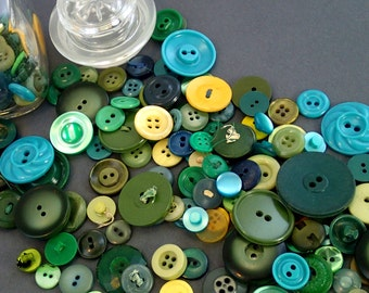 Huge Green and Yellow Button In a Glass Jar Vintage Buttons Collection Destash Lot