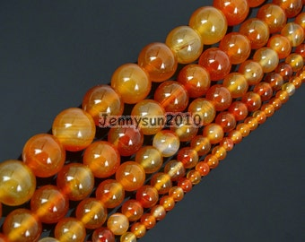 Carnelian Natural Agate Gemstones Round Ball Spacer Beads 2mm 3mm 4mm 6mm 8mm 10mm 12mm Great For Jewelry Design