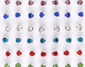 6mm Round Crystal Rhinestone Post Earrings * Birthstone Studs * January February March April June July August September October December