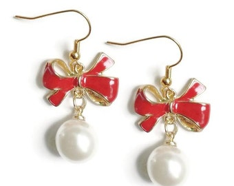 Red Christmas Bow Earrings Enamel Ribbon and Faux White Pearl Drop Gold Ear Hooks Xmas Christmas Fashion Jewelry Gifts Under 10
