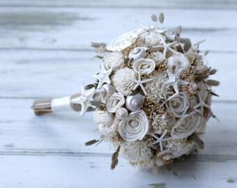 Beach Bouquet,Beach sandals,sola Bouquet,Destination wedding,Beach wedding,Beach Bouquet,Coastal wedding,Shells,Swarovski crystals,