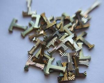 Vintage Brass Gold Plated Diamond Cut Letter T x 15   # NNN 1