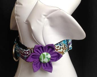 "Martingale Dog Collar Flower Set Indian Batic Print - Available in 3/4"", 1"" And 1.5"" width  Print - Size S, M,  L,  XL"