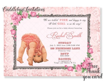 Pink Rose Silver Girl Baby Shower Invitation | Vintage Shabby Chic Baby Girl Baby Shower Invite | Pink Shabby Chic Baby Shower Printable