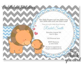 Blue and Grey Chevron Lion Boy Baby Shower Invitation | Blue Lion Baby Boy Shower Invitation | Baby Lion Shower Invitation Printable