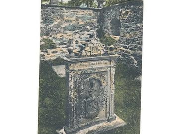 very old postcard of McNab's Tombstone, Inch Buir or Buie, Scotland, 1918