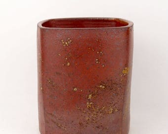 Medium square flower vase in warm shino brown with wood ash accents (FREE GIFT INCLUDED)