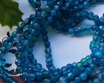 Long Strand Natural Blue Agate Faceted Round Beads 4 mm