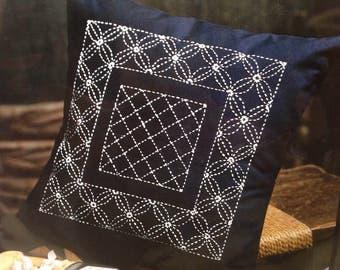 Olympus Sashiko Cushion Kit with Cloths and Threads - Traditional Japanese Craft