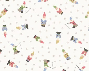 Fat Quarter Garden Gnomes White Grandma's Garden 100% Cotton Quilting Fabric