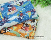 Thin Cotton Fabric, Cartoon Mickey Mickey Mouse Holiday On Blue Orange Cotton For Baby Kids- 1/2 Yard