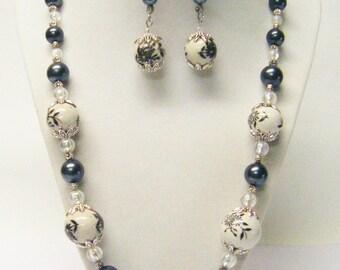 Round White w/Black Flowers Ceramic Bead Necklace & Earrings Set