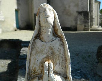 Statuette of the Virgin Mary in ancient plaster, Christian religious figurine, Catholic statue, prayer, religion