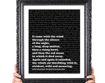 Sherlock Holmes, Baskervilles, Wild, Arthur Conan Doyle, Literary Gift, Book Lover Gift, Typography Art Print, Book Quote, 8x10