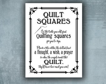 Wedding Quilt Guestbook Sign - PRINTED White and Black wedding signage, Sign our Quilt square,  wedding guestbook, Traditional wedding sign