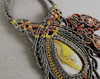 Macrame Necklace, Bumble Bee Jasper with Gray Thread