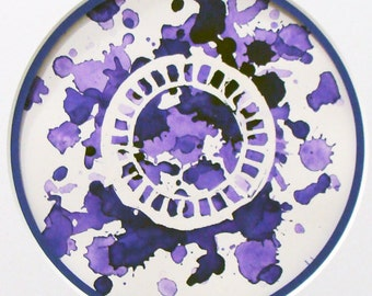 Purple Birth Control Artwork - Original Watercolor Splatter Painting -  Matted and Ready to Frame