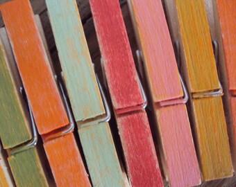 Decorative Clothespins - Set of 10 Bohemian Photo Holders - Distressed Wood Clothespins (Summer Tones) - Photo Clothesline - Boho Dorm Decor