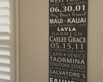 Subway Bus Scroll, Wedding Sign, Couple Story,  Restoration Hardware Style, Vintage Tram scroll, Canvas Word Art, Typography Word Art