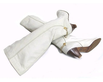 POLLINI  80s BOOTS  us10 fr41 white leather and gold ankle  chain