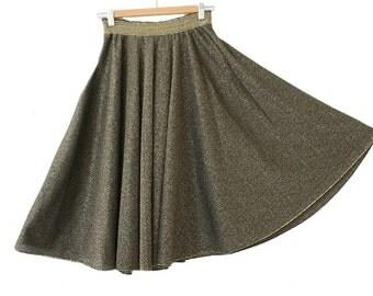 1970  Disco full circle gold lurex Skirt  / 70s gold metallic  circle Skirt