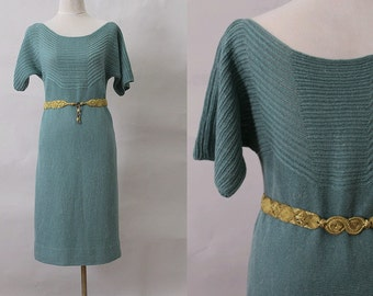 1970 Emerald green Knit Dress /70s knit green dress