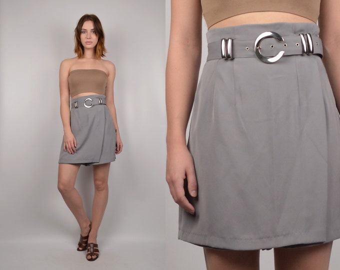 20% OFF Vintage High Waist Skort gray minimalist