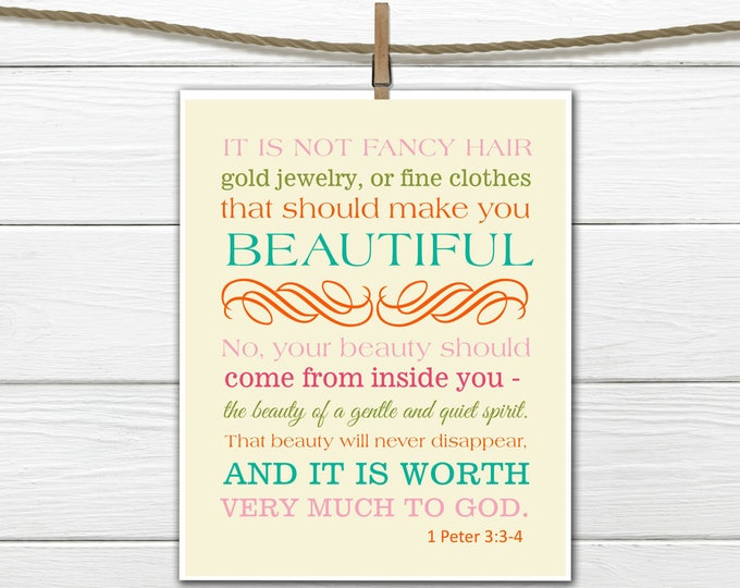 Bible Verse Christian Art Print 1 Peter 3:3-4 Beauty 8x10 PDF Instant  Download