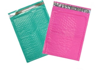 50 Hot PINK and Teal Green large 8.5x12 Poly Bubble Mailers, Size-2 Padded Self Adhesive Padded Mailer Self Adhesive Mailing Envelopes
