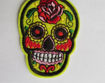 Yellow Sugar Skull Patch, Day of the dead patch - iron on or sew on