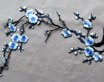 Blue Cherry Blossom applique - iron on or sew on.