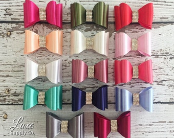 Luxe Satin Bows - Gorgeous Stiff Satin Bows with Rhinestone Center Accent -  You choose the color and quantity - Flat back (no clips)