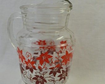 Swaky Swig Pitcher - Large Glass Drink Pitcher with Red/Maroon Flower on Trellis