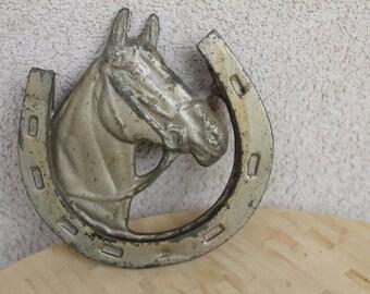 Horseshoe door knocker, Brass door knocker Animal door knocker, Horse door knocker, Front door knocker, Door attachment, Antique knocker