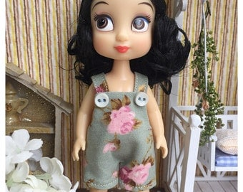 """Mini Disney Animator Outfit / Obitsu11 Outfit : """"Vintage Roses"""" (Dungaree)"""