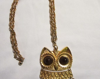 Fantastic Large OWL Necklace // Owl // Owl with Big Brown Eyes //  Owl Jewelry
