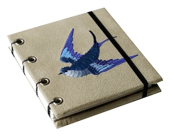 Embroidered Bluebird Coptic Stitched Sketchbook/Journal