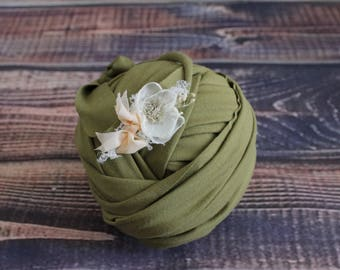 Stretch newborn wrap Newborn wrap set Newborn headband Layering piece Newborn tieback headband Newborn baby wrap Baby blanket Green baby set