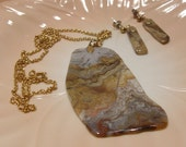Crazy Lace Agate Necklace and Earrings