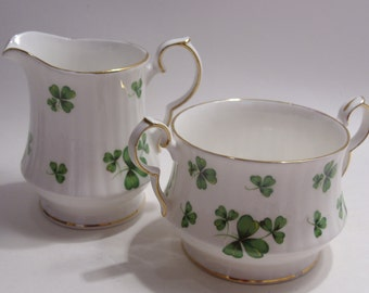Hammersley Shamrock Clover Bone China Sugar and Creamer Made in England