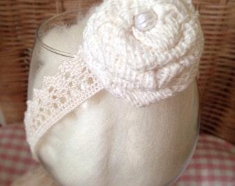Lace and Burlap Tieback Headband/ Rustic Photo Prop Accessories for Newborn Babies/Girls