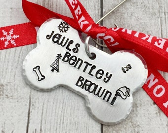 Pet Ornament Personalized - Personalized Dog Ornament - Dog Christmas Ornament - Custom Dog Ornament - Hand Stamped Ornament