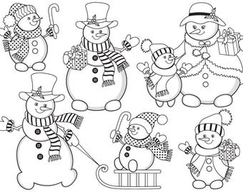 Snowman clipart images black and white dress