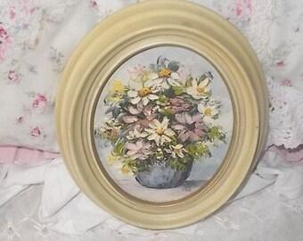 Miniture Painting Of Flowers Artist Ina Linton, Oval Small Painting of Flowers, Vintage Small Painting, Vintage Home Decor, Home Decor