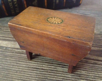 English Treen Wood Table Bank Handmade Crafted Collectable