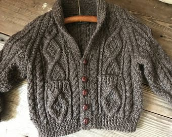 Childs Hand Knit Irish Aran Wool Cardigan Sweater